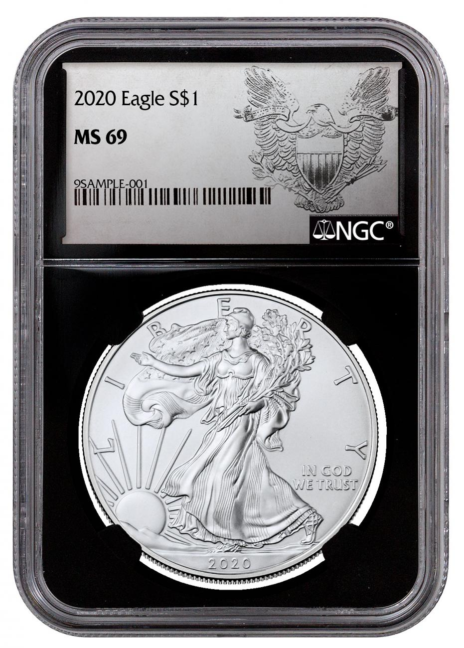 2020 1 oz American Silver Eagle $1 Coin NGC MS69 Black Core Holder Exclusive Heraldic Eagle Label