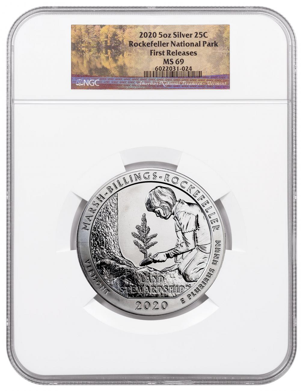 2020 Marsh-Billings-Rockefeller 5 oz. Silver ATB America the Beautiful Coin NGC MS69 FR White Core Holder Marsh Theme Label