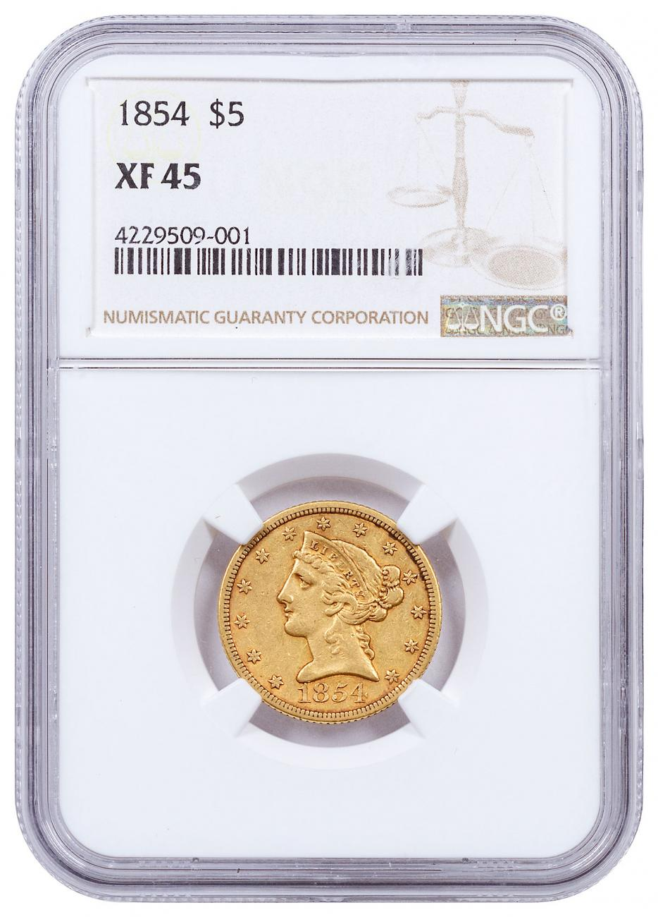 1854 Liberty Head $5 Gold Half Eagles NGC XF45
