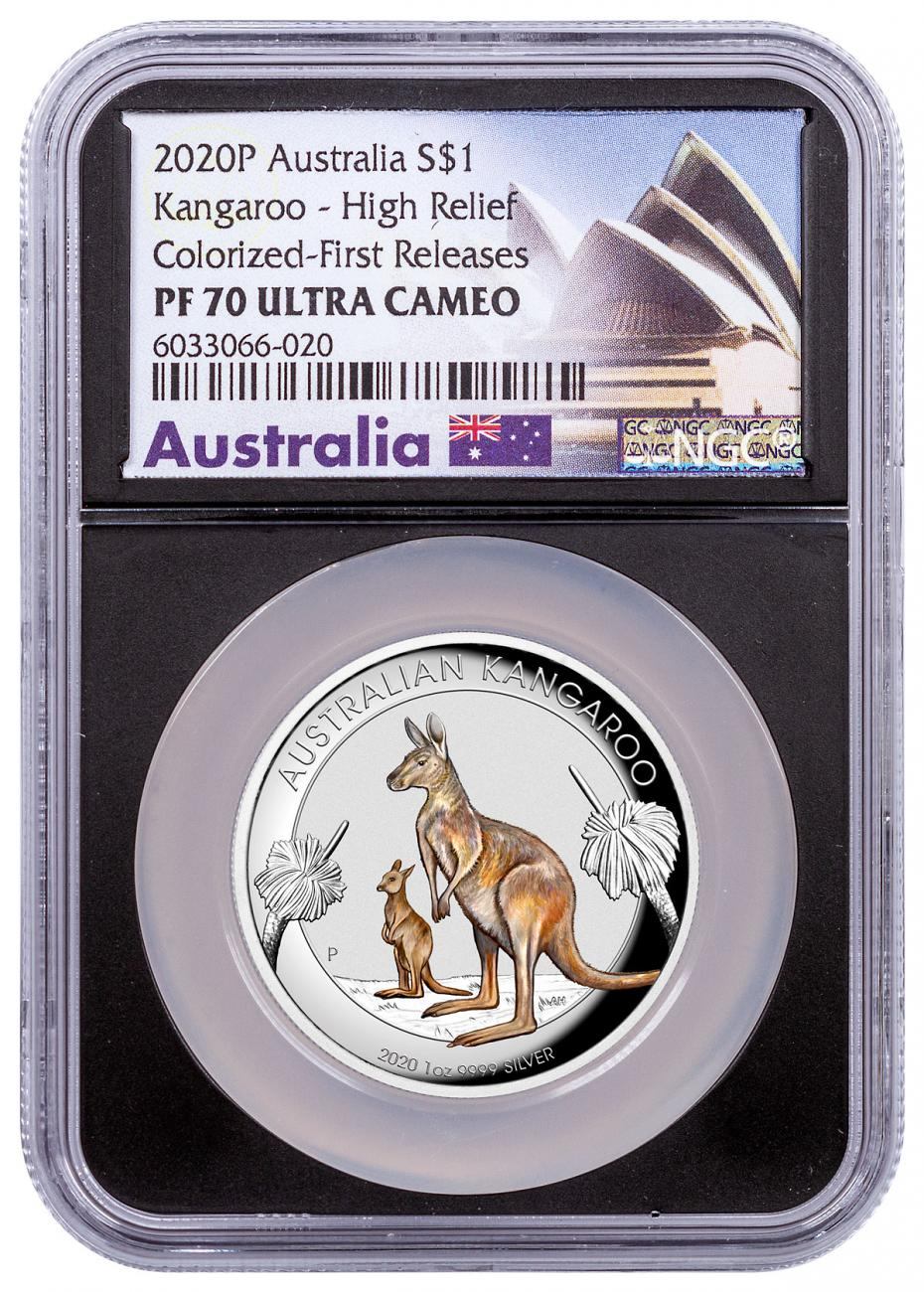 2020-P Australia $1 1 oz Silver Kangaroo Colorized High Relief Proof Coin NGC PF70 UC FR With OGP Black Core Holder Opera House Label