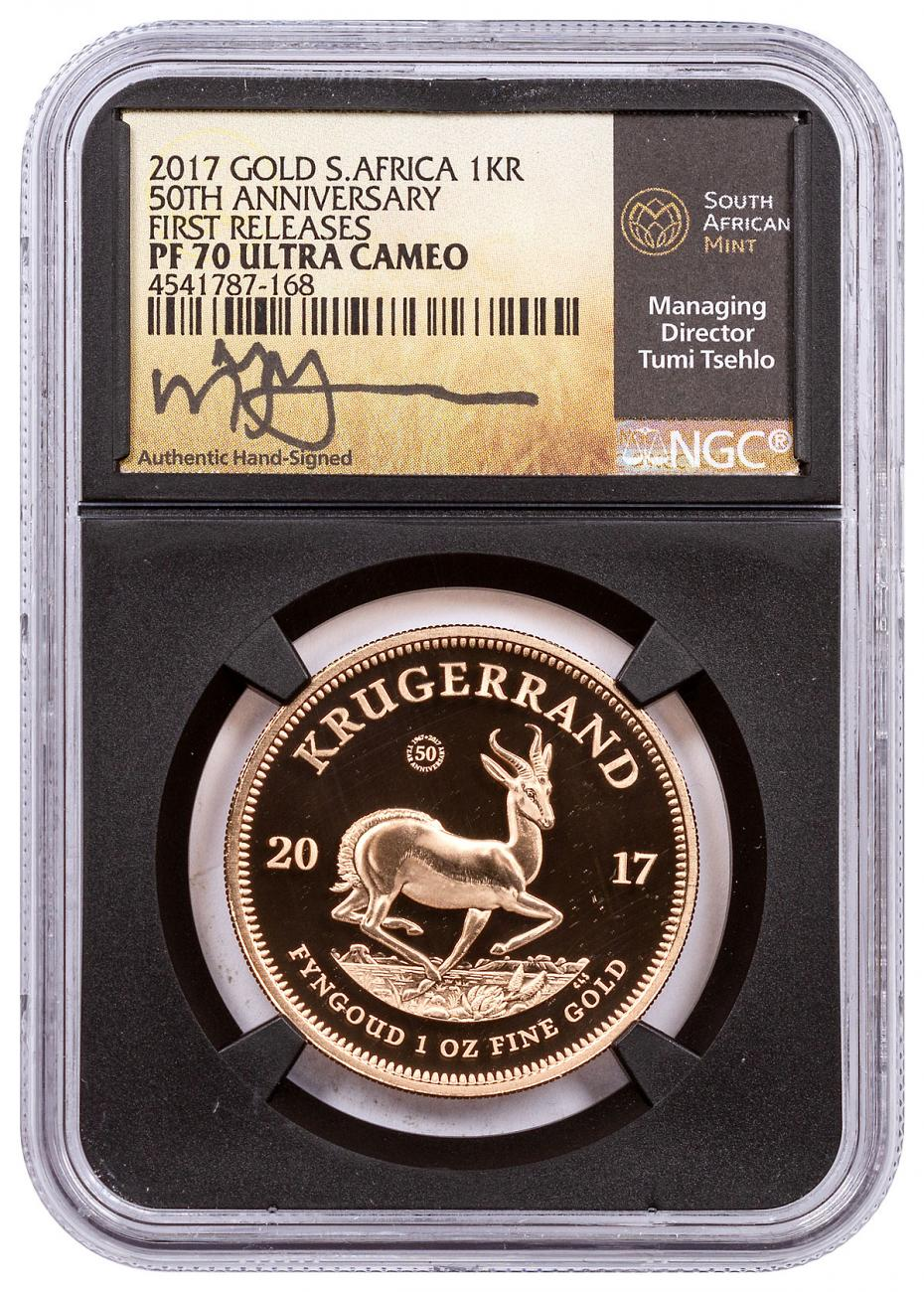 2017 South Africa 1 oz Gold Krugerrand - Proof R1 Coin NGC PF70 UC FR Exclusive South Africa Tumi Signed Label