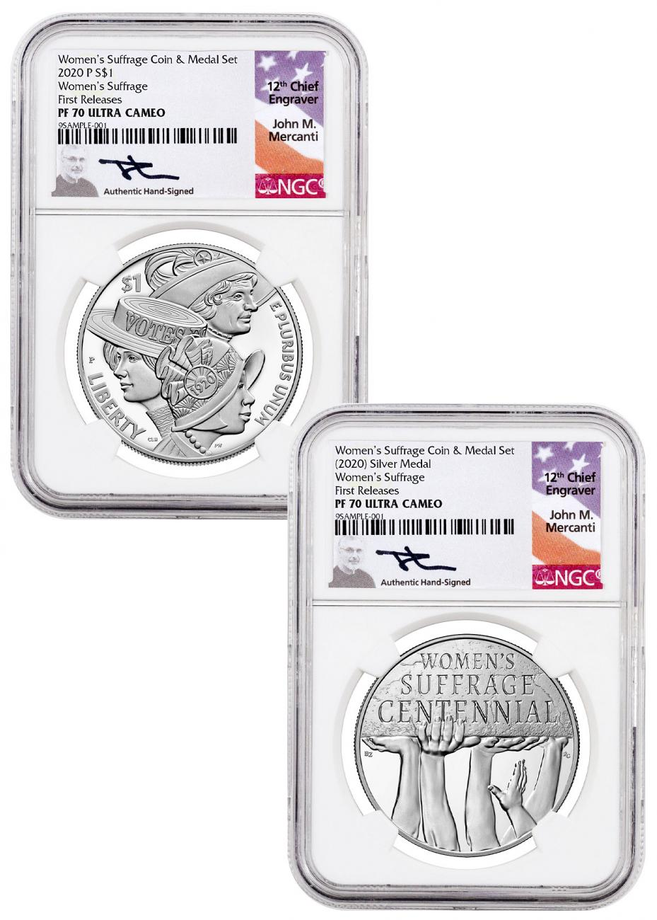 2-Piece Set - 2020-P Women's Suffrage Silver Dollar and Medal Set Commemorative Proof Coins NGC PF70 UC FR Mercanti Signed Label