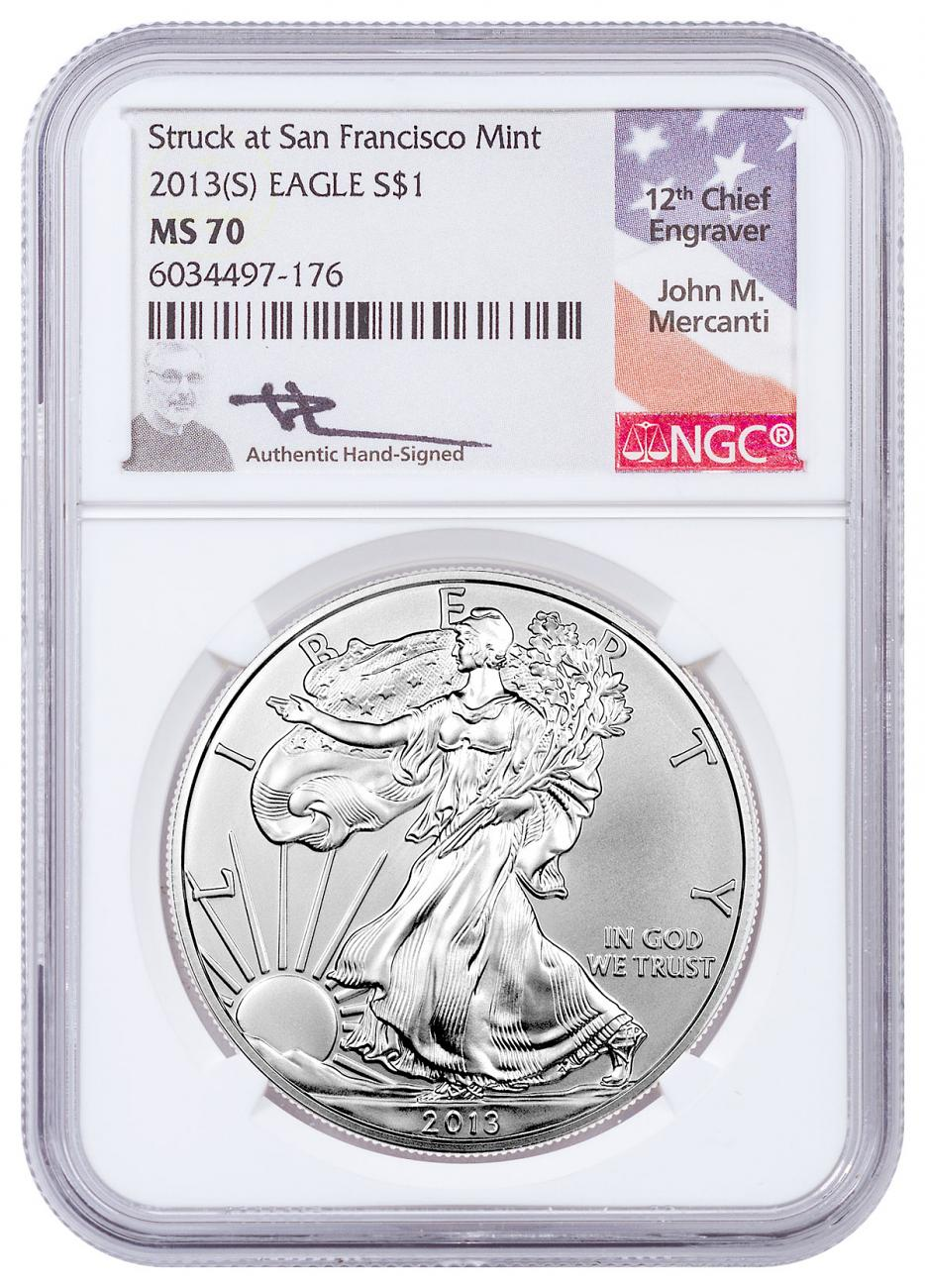 2013-(S) Silver Eagle Struck at San Francisco NGC MS70 Exclusive Mercanti Signed Label