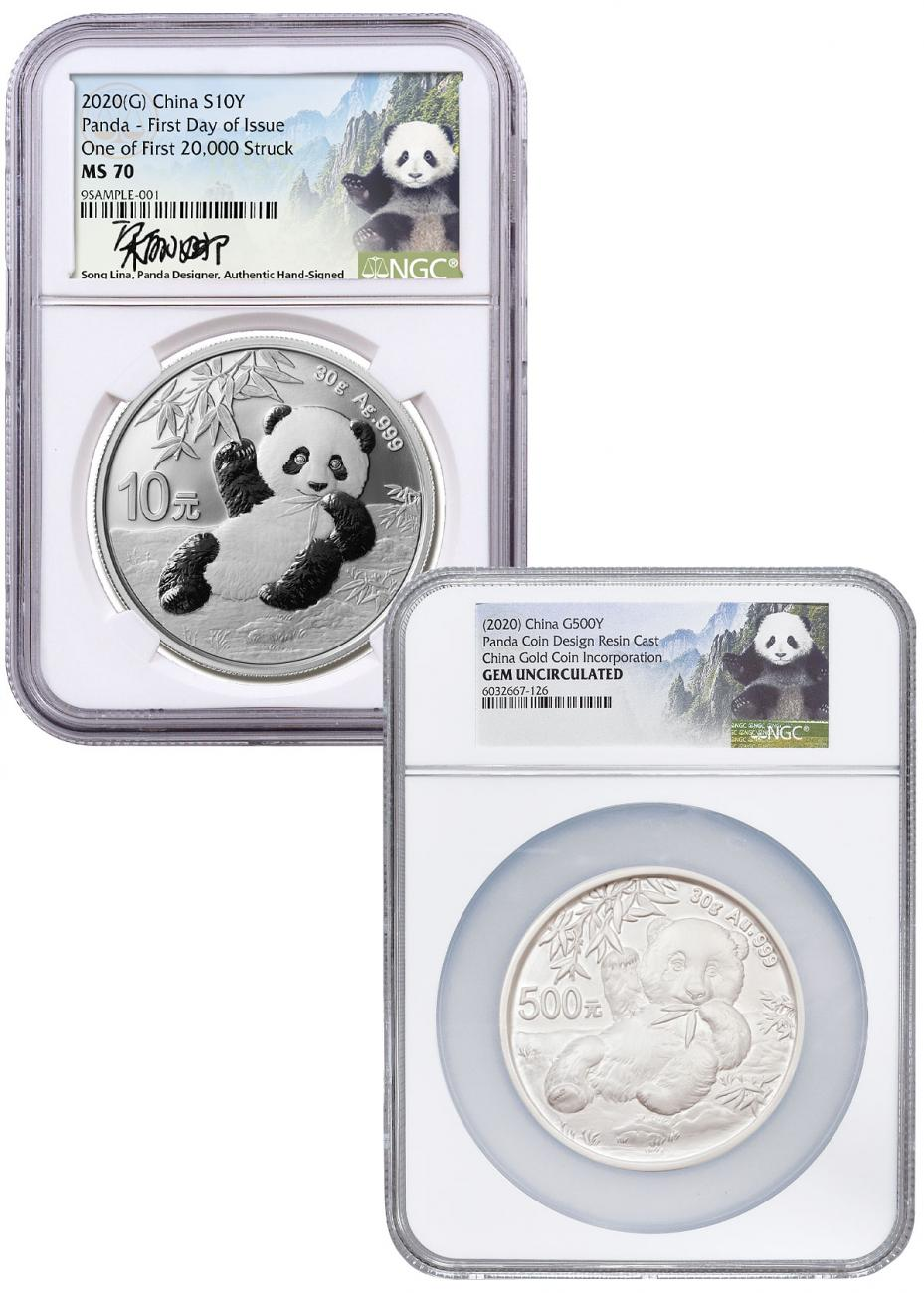 2-Piece Set - 2020 China 30 gm Silver Panda NGC MS70 FDI with Govt. Resin Cast Panda Scarce and Unique Coin Division Song Lina Signed Labels