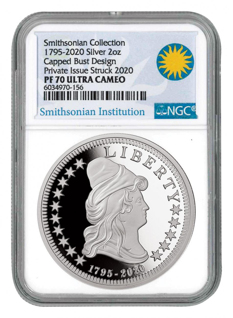 1795-2020 Capped Bust Smithsonian Collection 2 oz Silver Proof Medal NGC PF70 UC