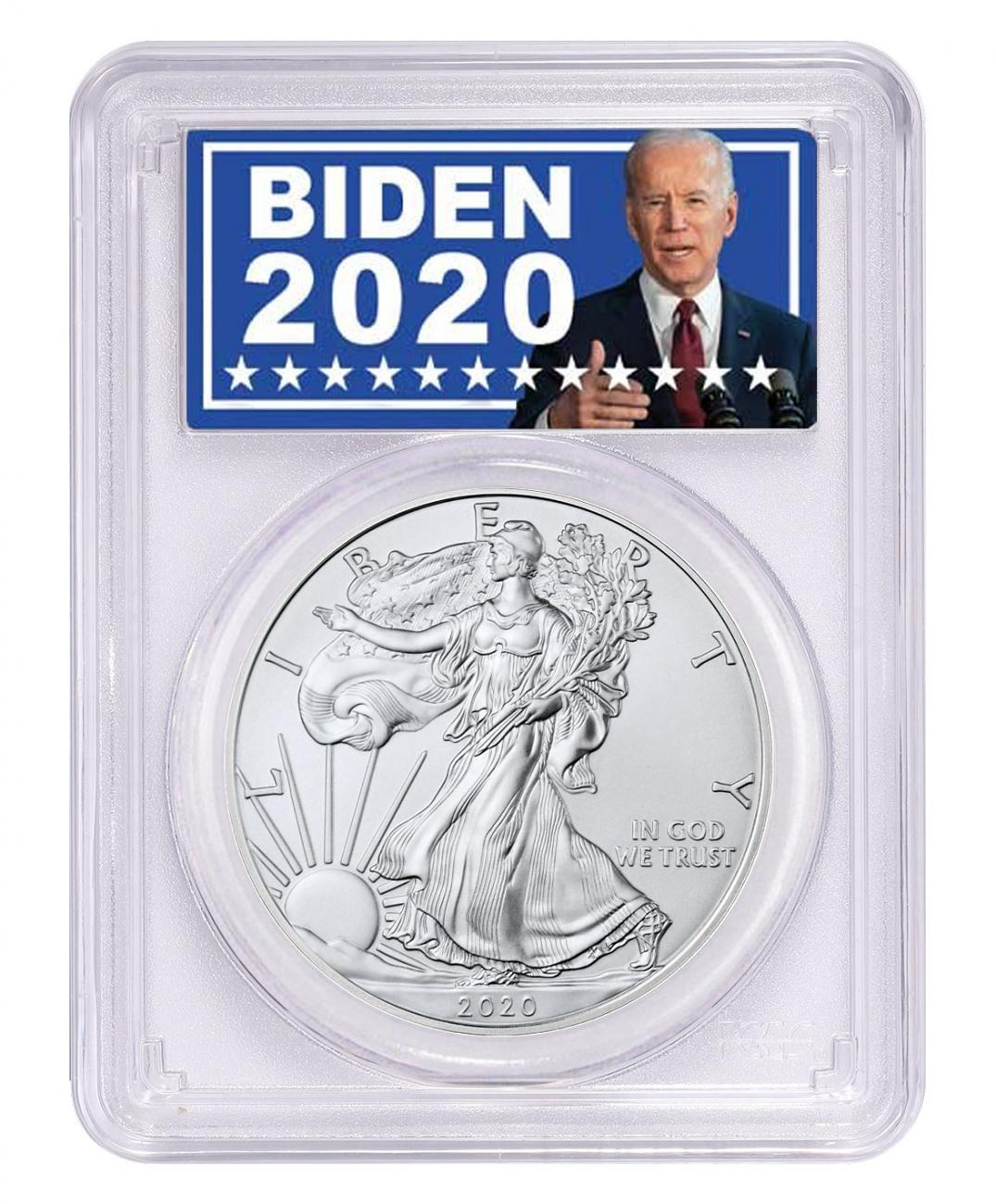 2020 1 oz American Silver Eagle $1 Coin PCGS MS70 Biden 2020 Label