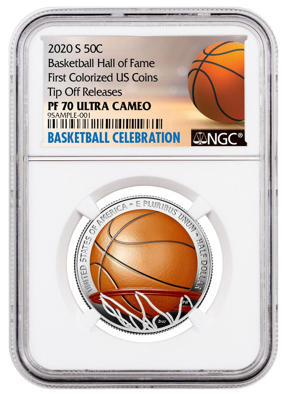 2020-S Basketball Hall of Fame Commemorative Clad Half Dollar Colorized Proof Coin NGC PF70 UC Tip Off Releases Basketball Celebration Label