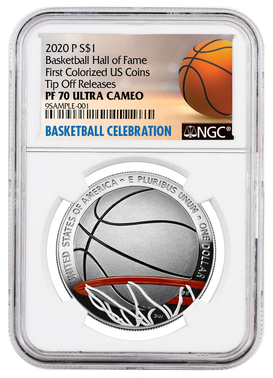 2020-P Basketball Hall of Fame Commemorative Silver Dollar Colorized Proof Coin NGC PF70 UC Tip Off Releases Basketball Celebration Label