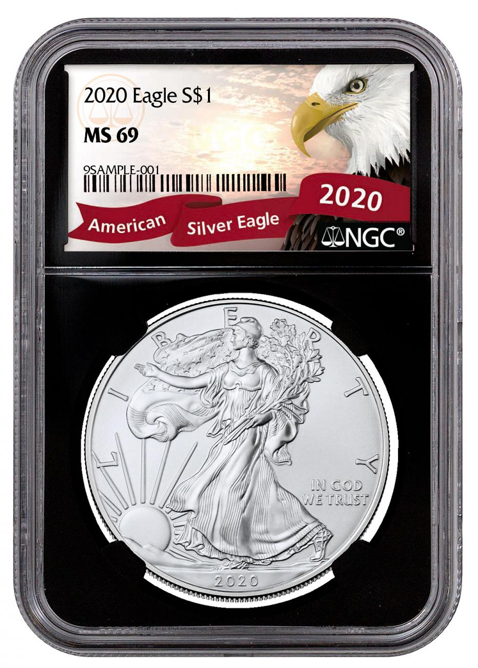 2020 1 oz American Silver Eagle $1 Coin NGC MS69 Black Core Holder Exclusive Eagle Label