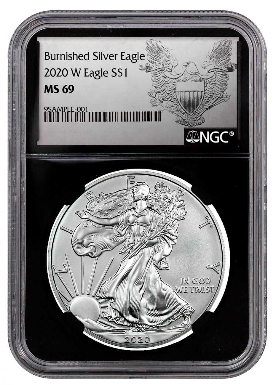 2020-W 1 oz Burnished American Silver Eagle $1 Coin NGC MS69 Black Core Holder Heraldic Eagle Label