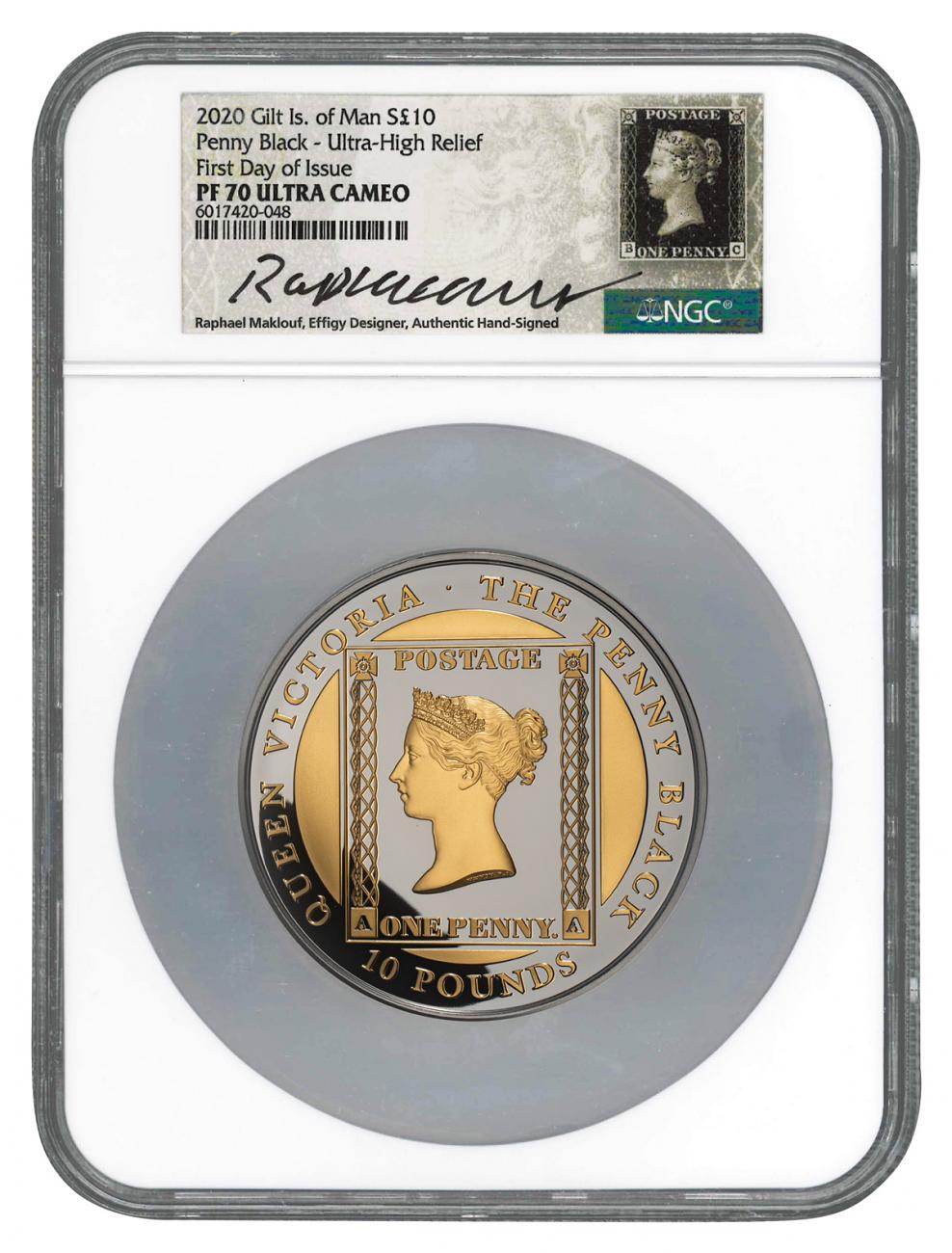 2020 Isle of Man £10 5 oz Silver Penny Black with Gold Gilding Ultra High Relief Proof Coin Scarce and Unique Coin Division NGC PF70 UC FDI Exclusive Maklouf Hand Signed Penny Black Custom Label