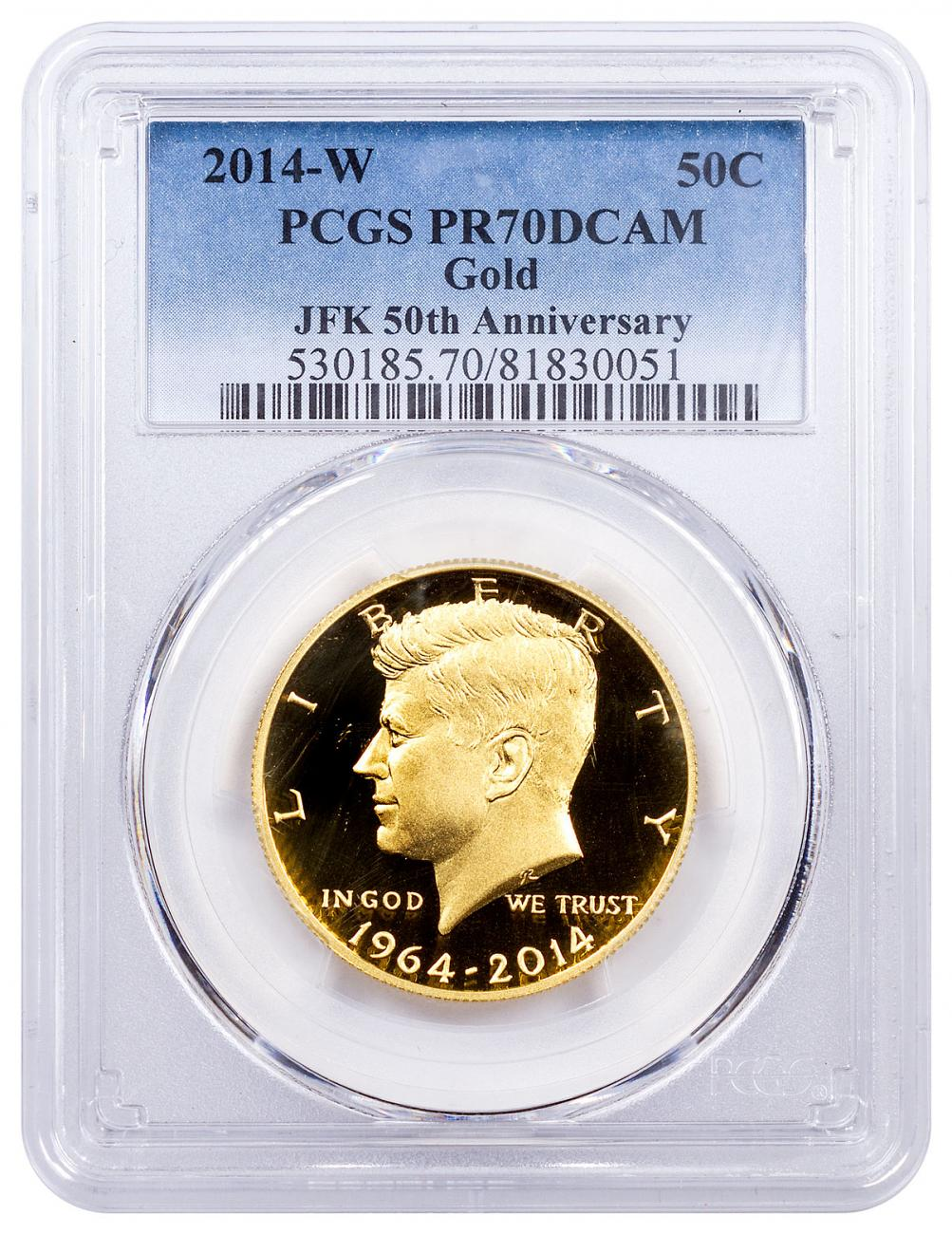 2014-W Gold 50c Kennedy 50th Anniversary High Relief PCGS PR70 DCAM