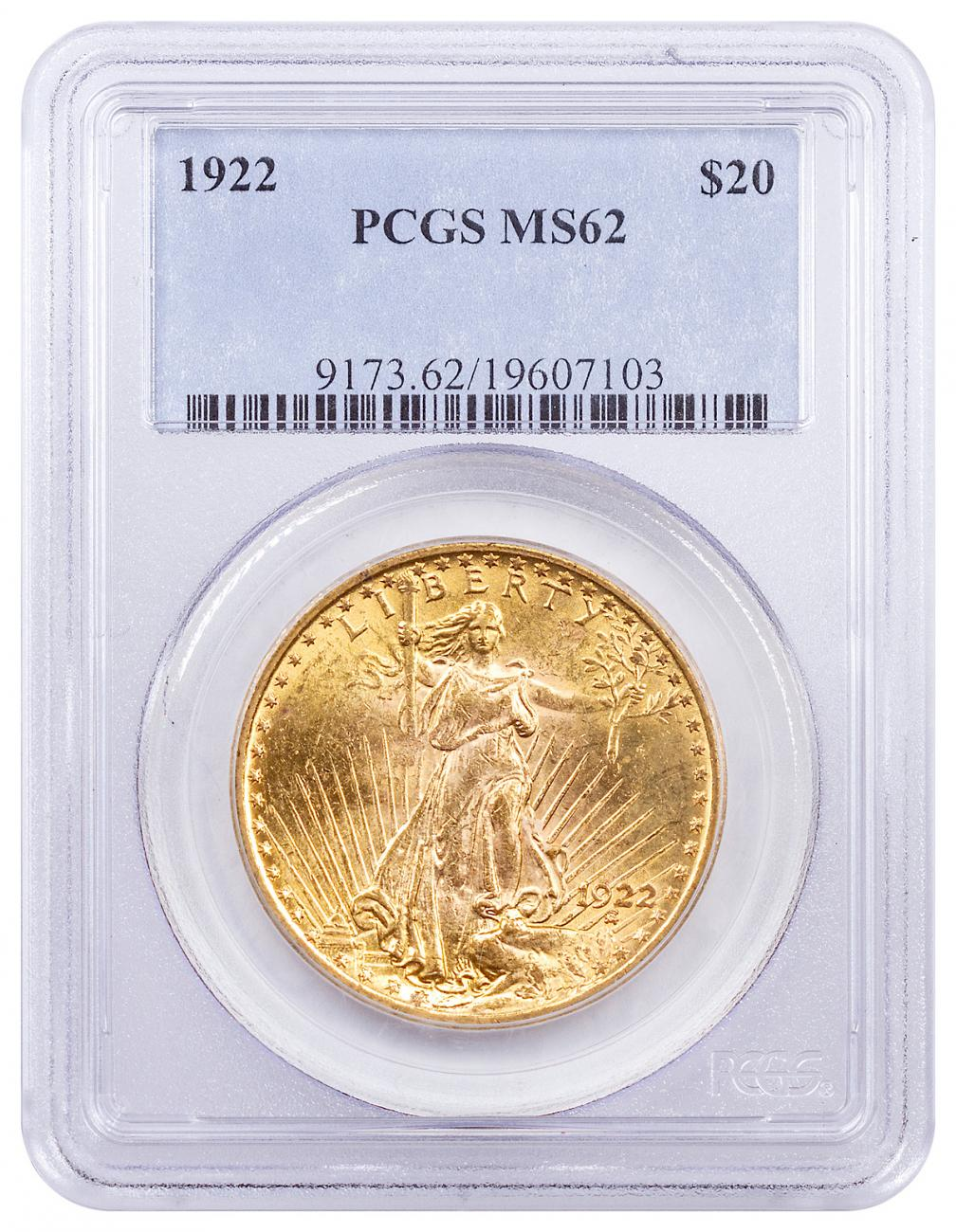 1922 Saint-Gaudens $20 Gold Double Eagle PCGS MS62