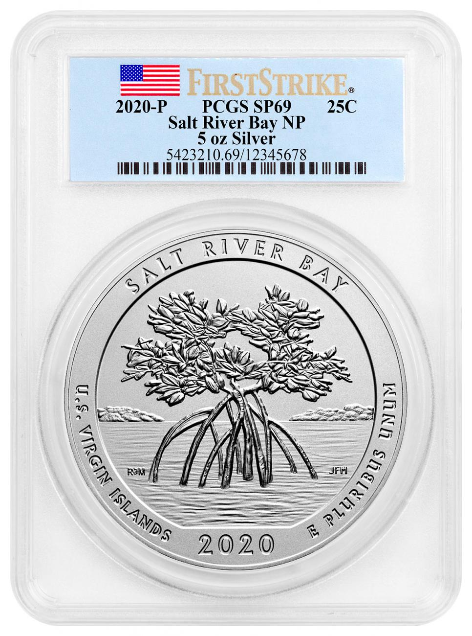 2020-P Salt River Bay NP and Ecological Preserve 5 oz. Silver America the Beautiful Specimen Coin PCGS SP69 FS Flag Label