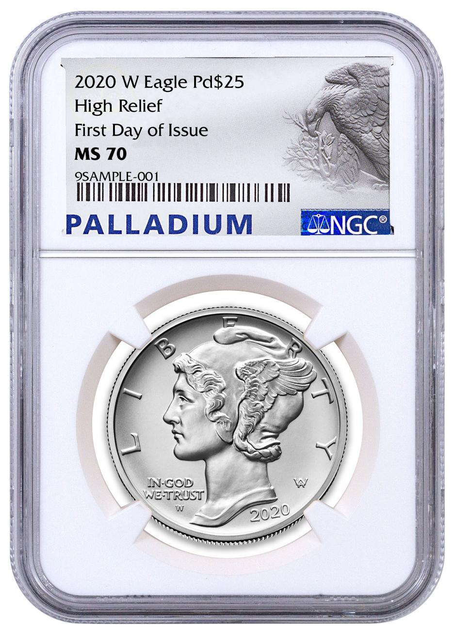 2020-W 1 oz High Relief Palladium Eagle Burnished $25 Coin NGC MS70 FDI Palladium Eagle Label