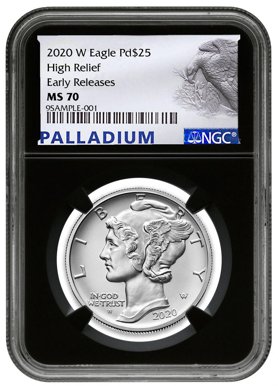 2020-W 1 oz High Relief Palladium Eagle Burnished $25 Coin NGC MS70 ER Black Core Holder Palladium Eagle Label
