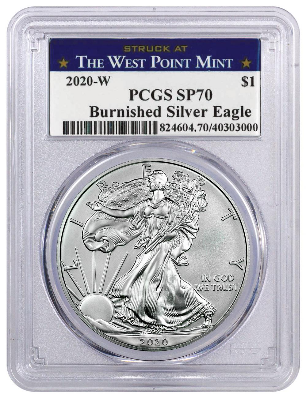 2020-W 1 oz Burnished American Silver Eagle $1 Coin PCGS SP70 Struck at West Point Label