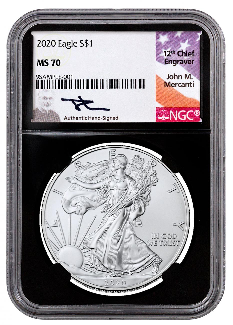 2020 1 oz American Silver Eagle $1 Coin NGC MS70 Black Core Holder Mercanti Signed Label