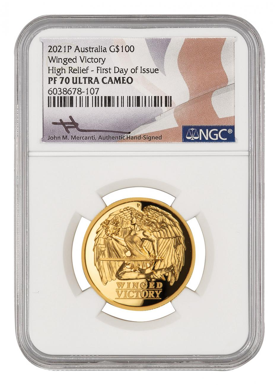 2021 Australia Winged Victory High Relief 1 oz Gold Proof $100 Coin Scarce and Unique Coin Division NGC PF70 UC FDI Mercanti Signed Flag Label