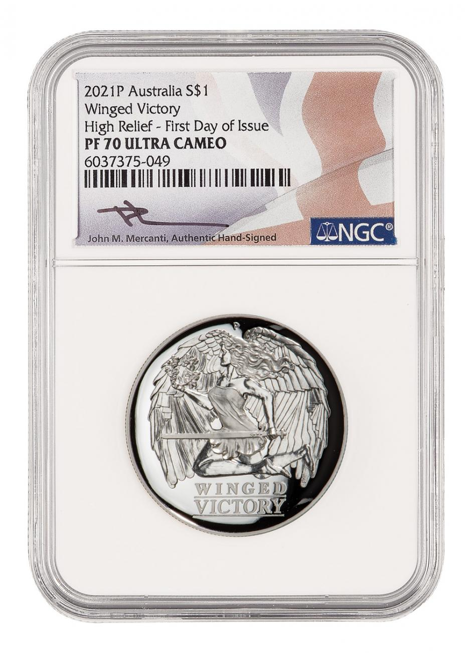 2021 Australia Winged Victory High Relief 1 oz Silver Proof $1 Coin Scarce and Unique Coin Division NGC PF70 UC FDI Mercanti Signed Flag Label