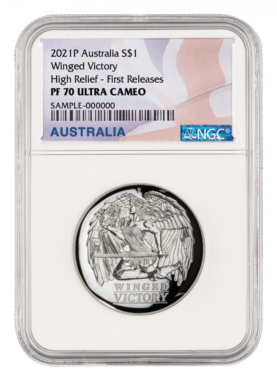 2021 Australia Winged Victory High Relief 1 oz Silver Proof $1 Coin NGC PF70 UC OGP Australia Flag Label