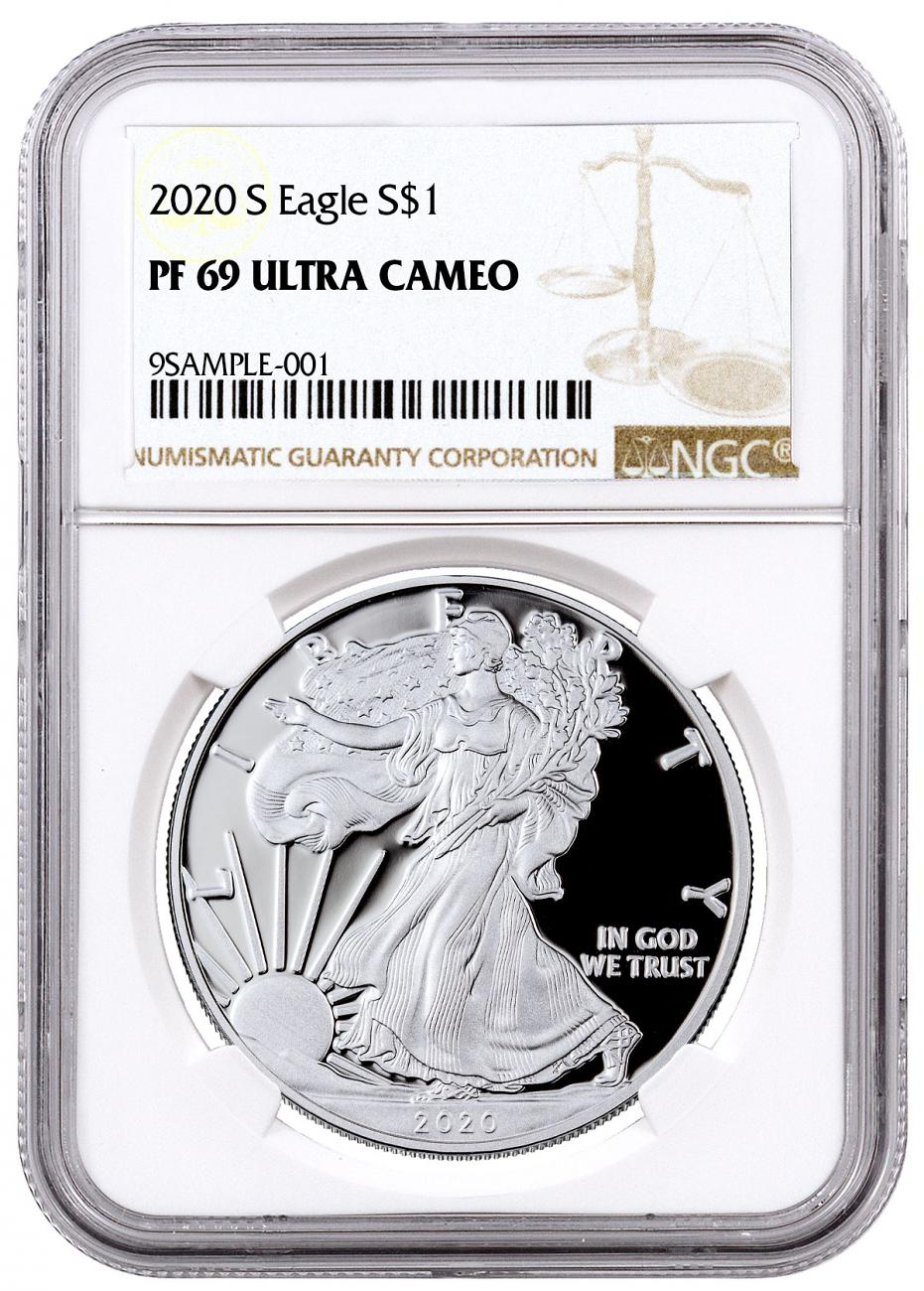 2020-S Proof American Silver Eagle San Francisco Issue NGC PF69 UC Brown Label