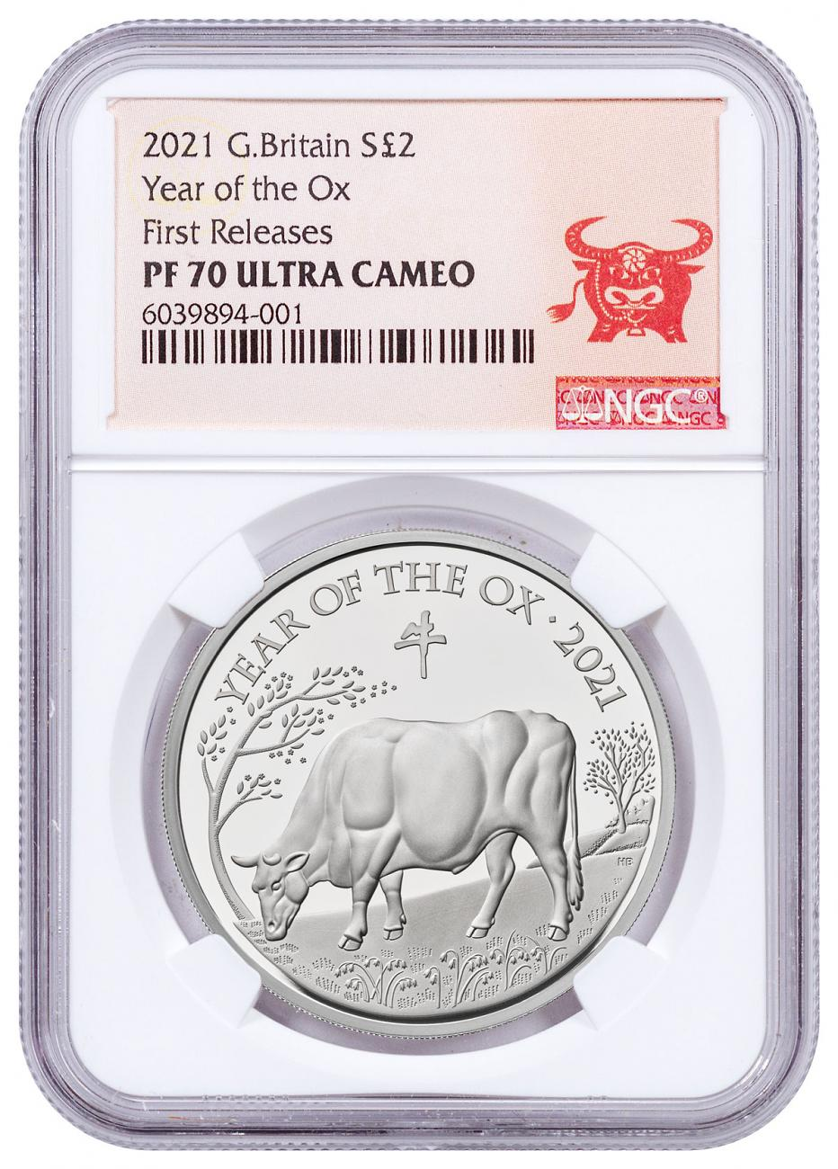 2021 Great Britain Year of the Ox 1 oz Silver Lunar Proof £2 Coin NGC PF70 UC FR OGP Year of the Ox Label