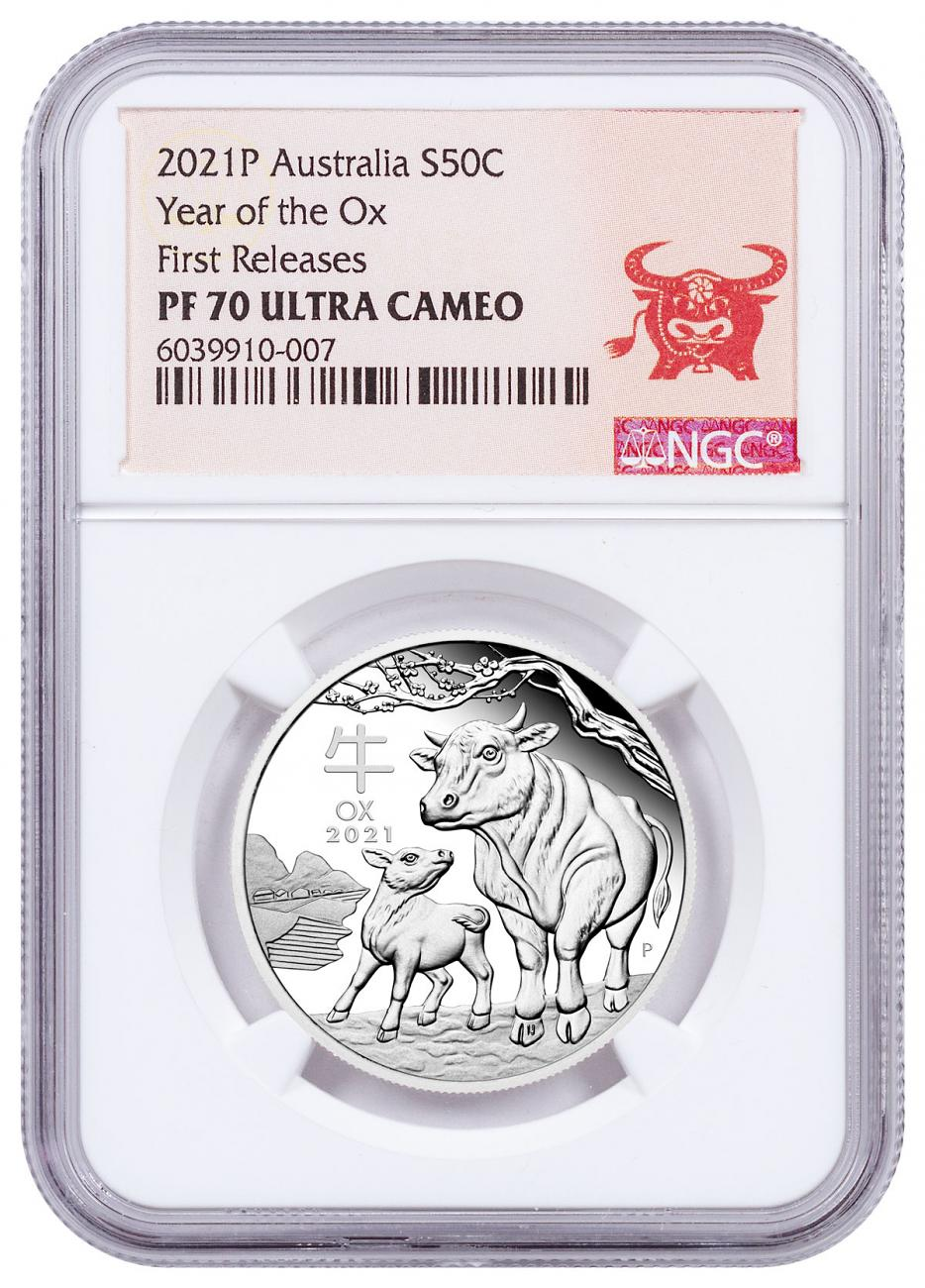 2021-P Australia 1/2 oz Lunar Year of the Ox Proof $0.50 Coin NGC PF70 UC FR Year of the Ox Label