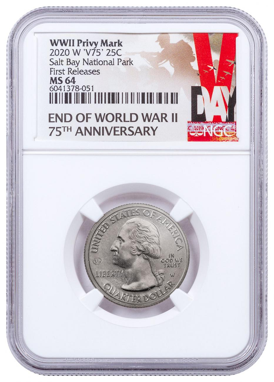 2020-W Clad Salt River Bay Historic Park and Ecological Preserve America the Beautiful Quarter NGC MS64 FR V-Day Label