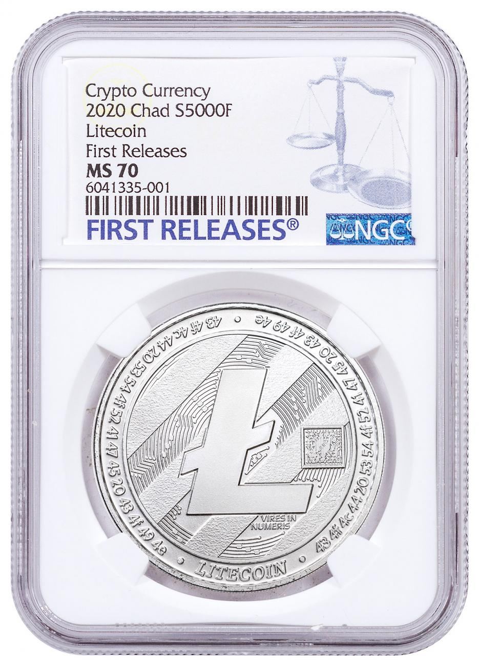 2020 Republic of Chad Fr.5,000 CFA 1 oz Silver LiteCoin Crypto Currency Coin NGC MS70 FR