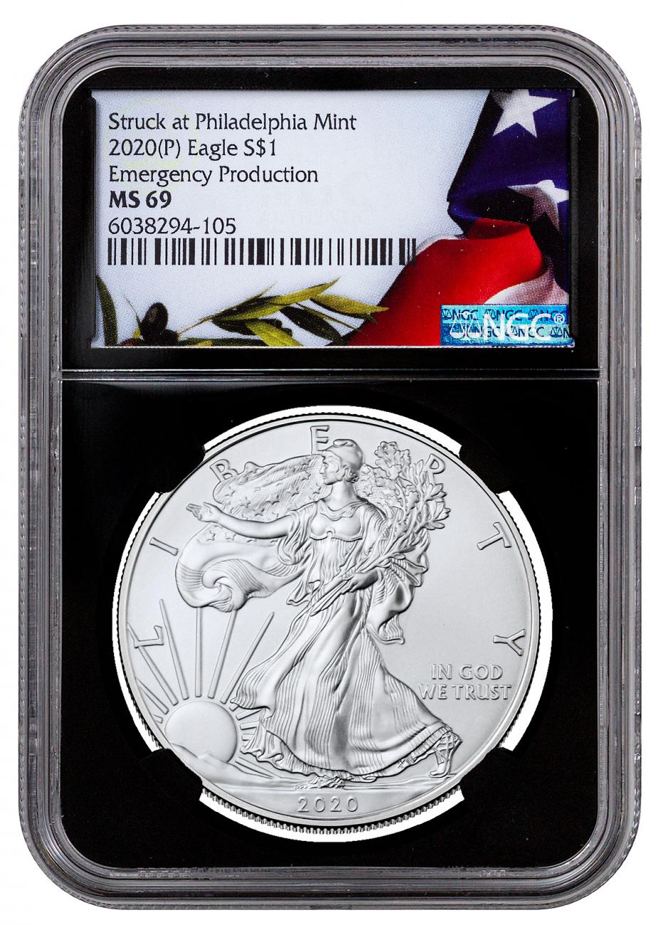2020-(P) 1 oz Silver American Eagle Struck at Philadelphia $1 Coin NGC MS69 Black Core Holder Liberty Flag Label