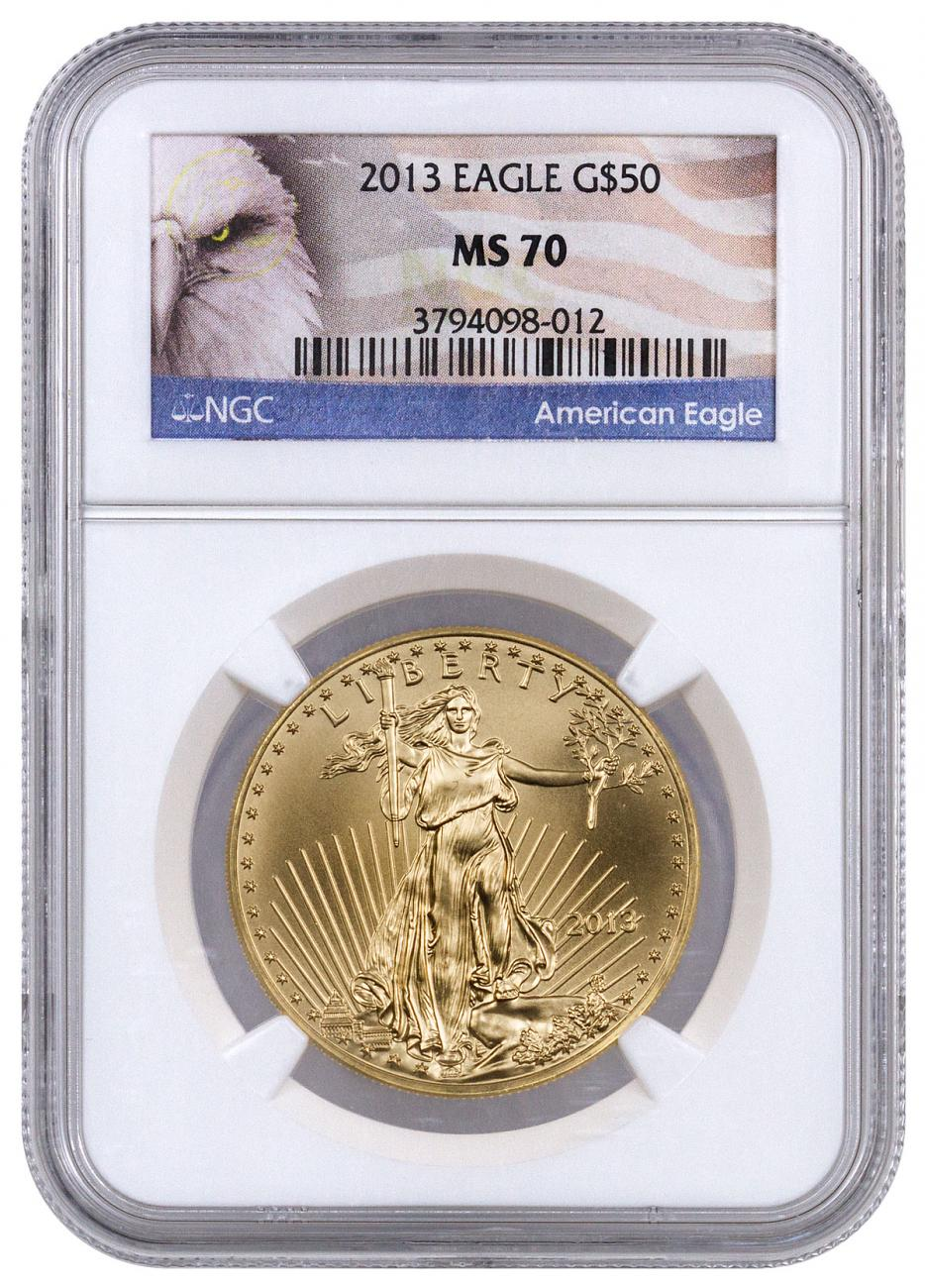 2013 1 oz Gold American Eagle $50 NGC MS70 (Exclusive American Eagle Label)