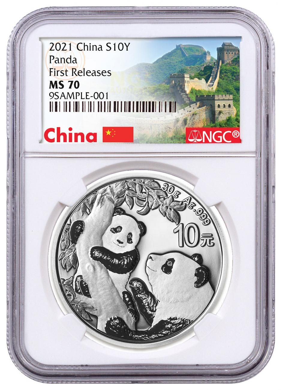 2021 China 30 g Silver Panda ¥10 Coin NGC MS70 FR White Core Holder Great Wall Label