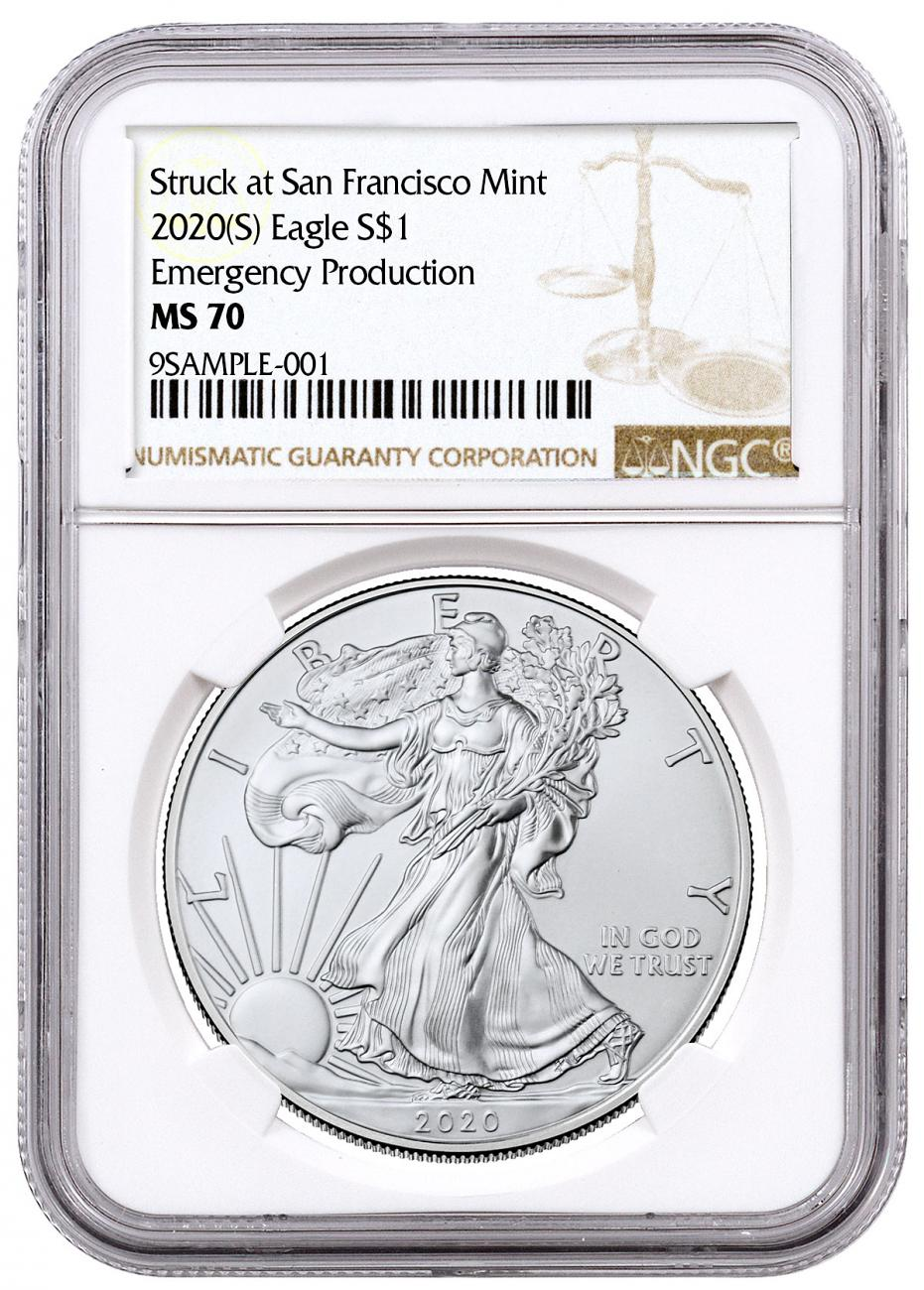 2020-(S) 1 oz American Silver Eagle Struck at San Francisco Mint Emergency Production NGC MS70 Brown Label