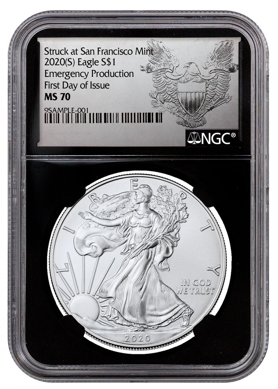 2020-(S) 1 oz American Silver Eagle Struck at San Francisco Mint Emergency Production NGC MS70 FDI Black Core Holder Exclusive Heraldic Eagle Label