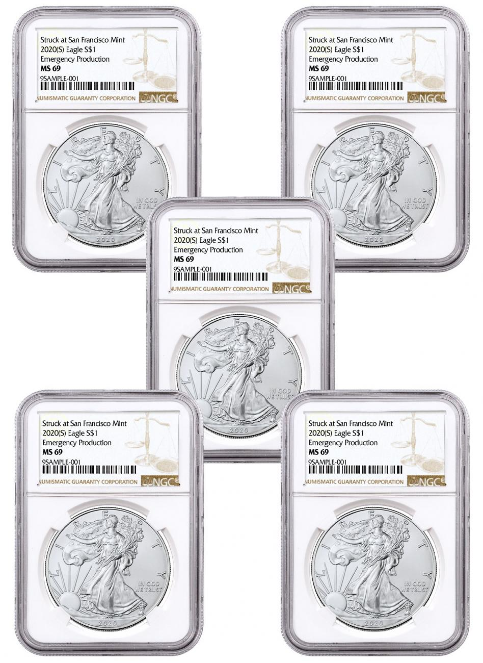 5-Pack - 2020-(S) 1 oz American Silver Eagle Struck at San Francisco Mint Emergency Production NGC MS69 Brown Label