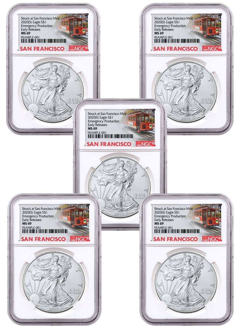 5-Pack - 2020-(S) 1 oz American Silver Eagle Struck at San Francisco Mint Emergency Production NGC MS69 ER Trolley Label