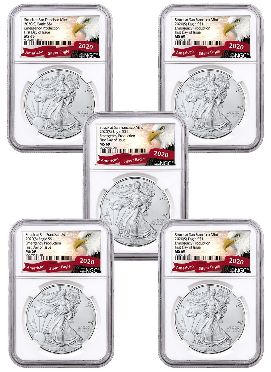 5-Pack - 2020-(S) 1 oz American Silver Eagle Struck at San Francisco Mint Emergency Production NGC MS69 FDI Exclusive Eagle Label
