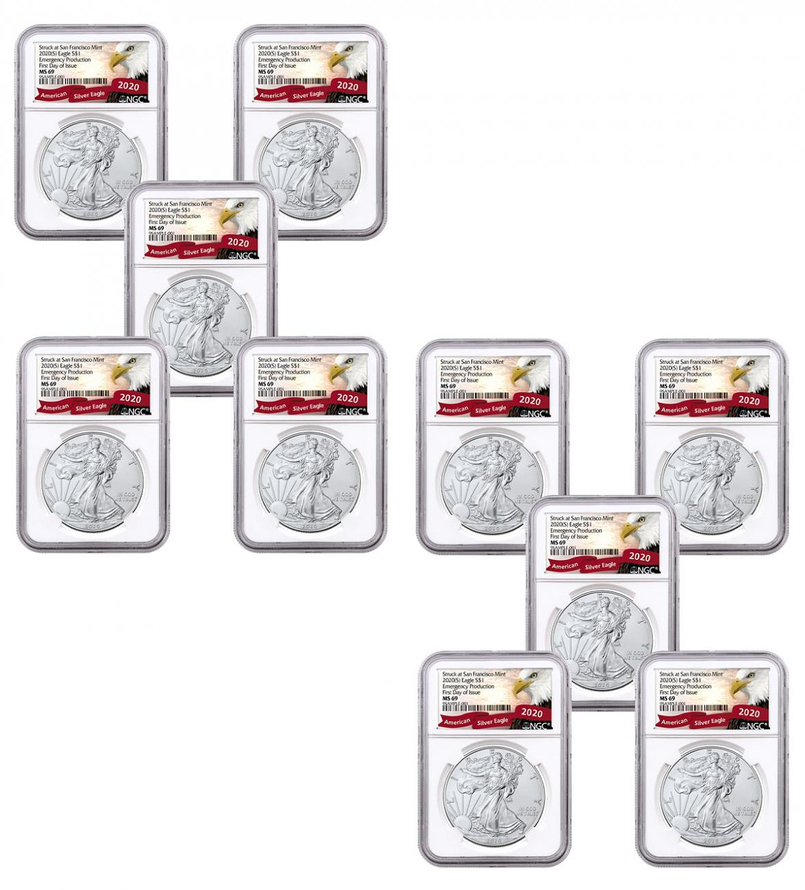 10-Pack - 2020-(S) 1 oz American Silver Eagle Struck at San Francisco Mint Emergency Production NGC MS69 FDI Exclusive Eagle Label