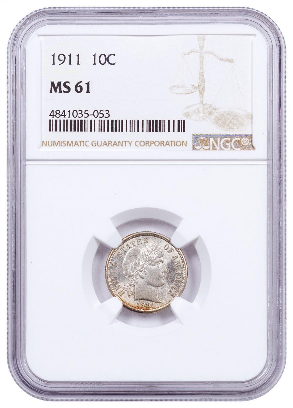 1911 Silver Barber Dime NGC MS61