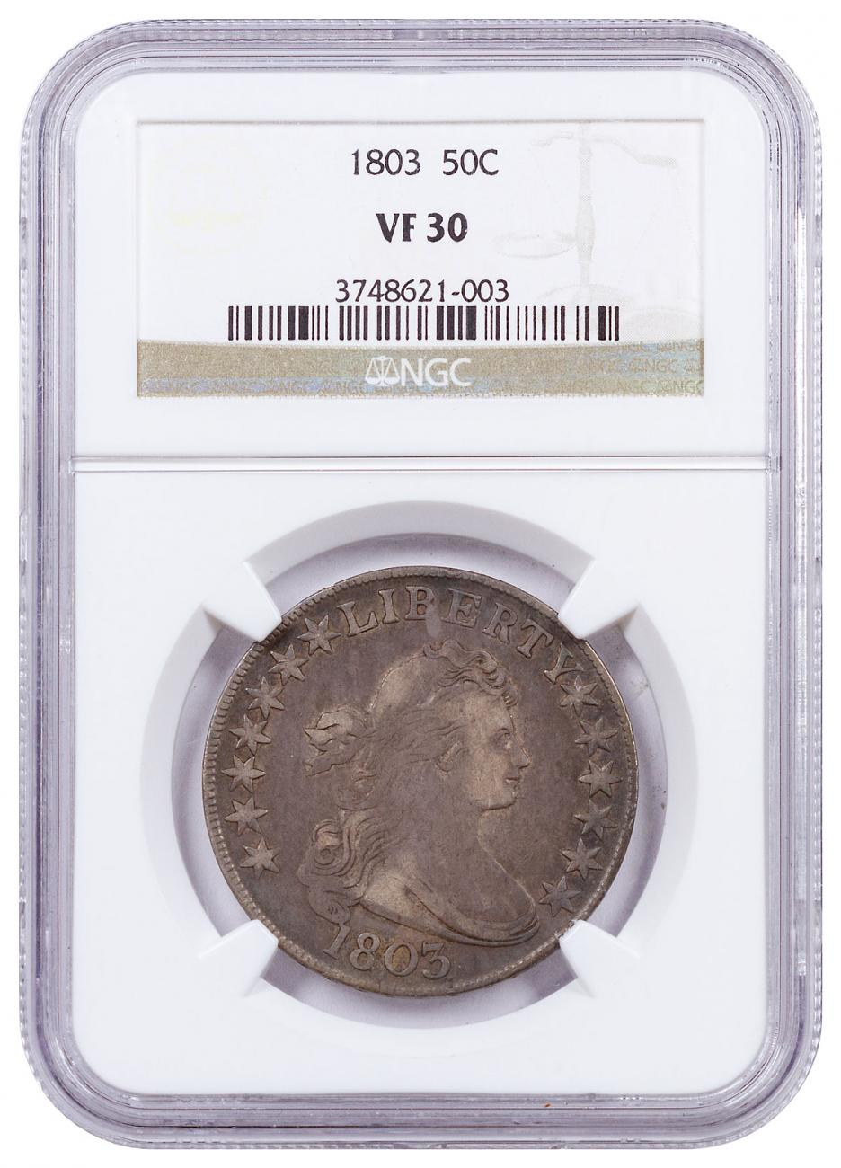 1803 Silver Large Eagle Draped Bust Half Dollar NGC VF30 Brown Label