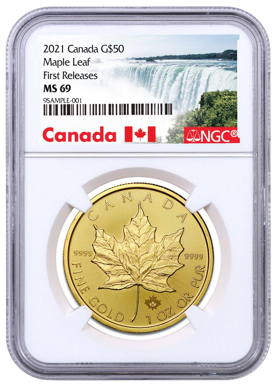 2021 Canada 1 oz Gold Maple Leaf $50 Coin NGC MS69 FR Exclusive Canada Label