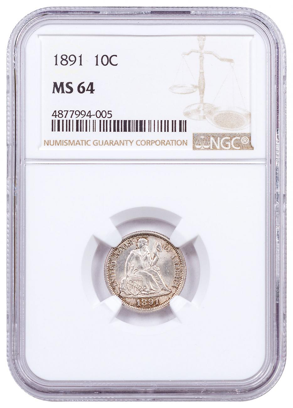 1891 Silver Liberty Seated Dime NGC MS64 Brown Label