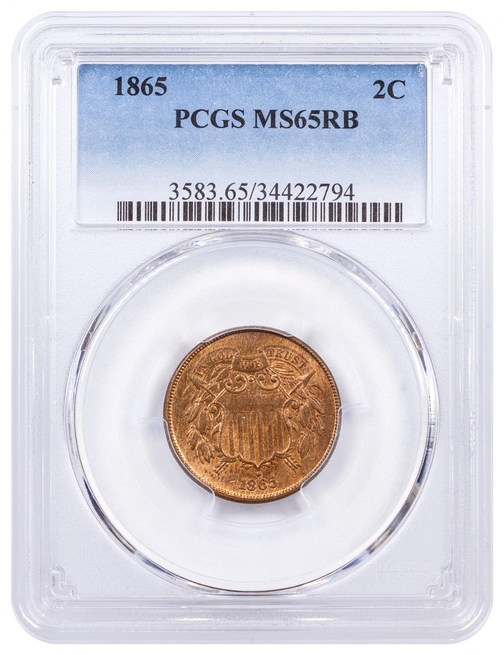 1865 Bronze Two Cent Piece NGC MS65 RB