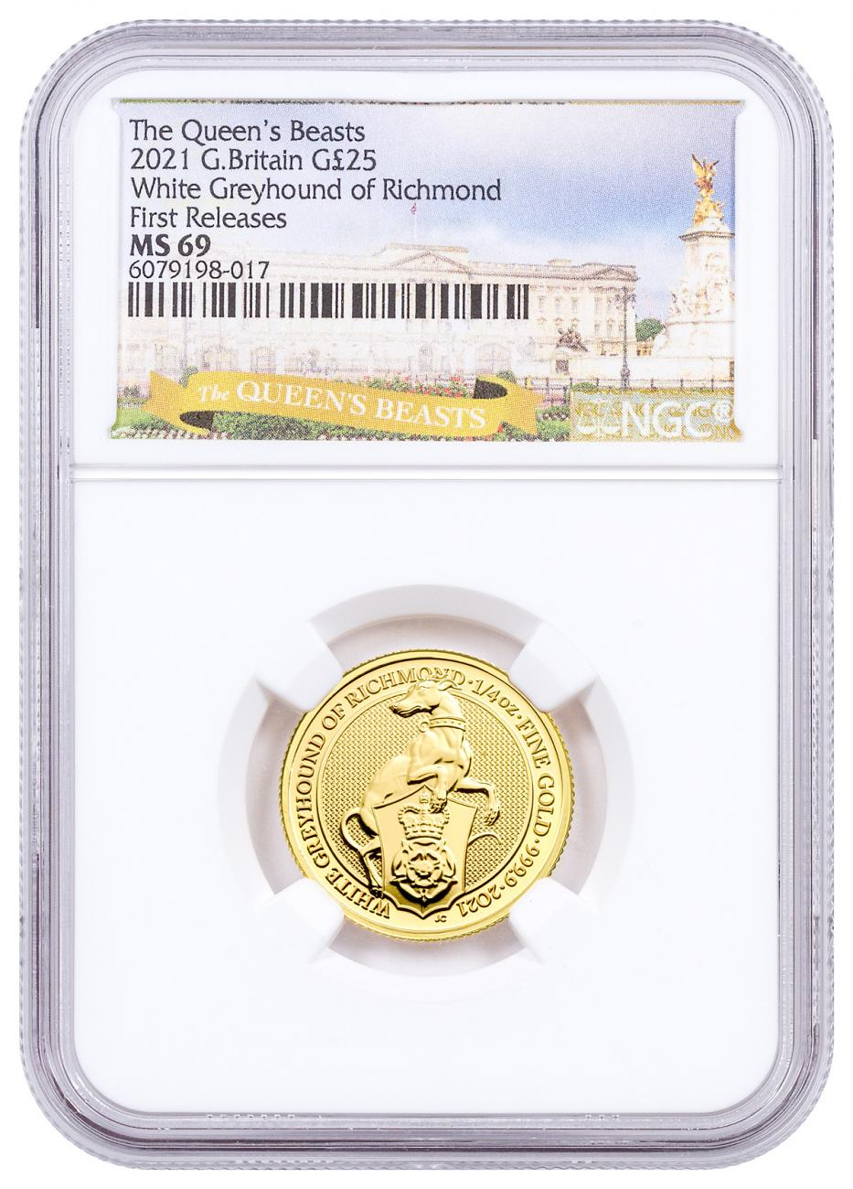 2021 Great Britain 1/4 oz Gold Queen's Beasts - The White Greyhound of Richmond £25 Coin NGC MS69 FR Exclusive Queen's Beasts Label