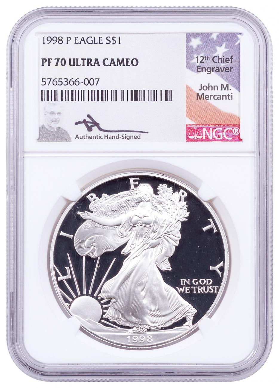1998-P Proof American Silver Eagle NGC PF70 UC Mercanti Signed Label