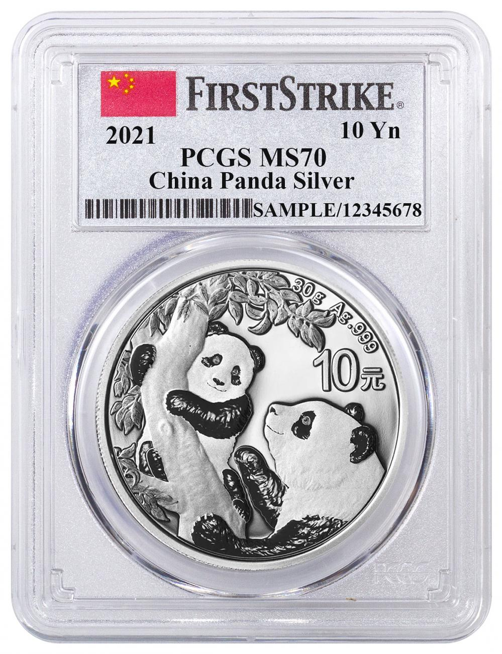 2021 China 30 g Silver Panda ¥10 Coin PCGS MS70 FS Clear Core Flag Label