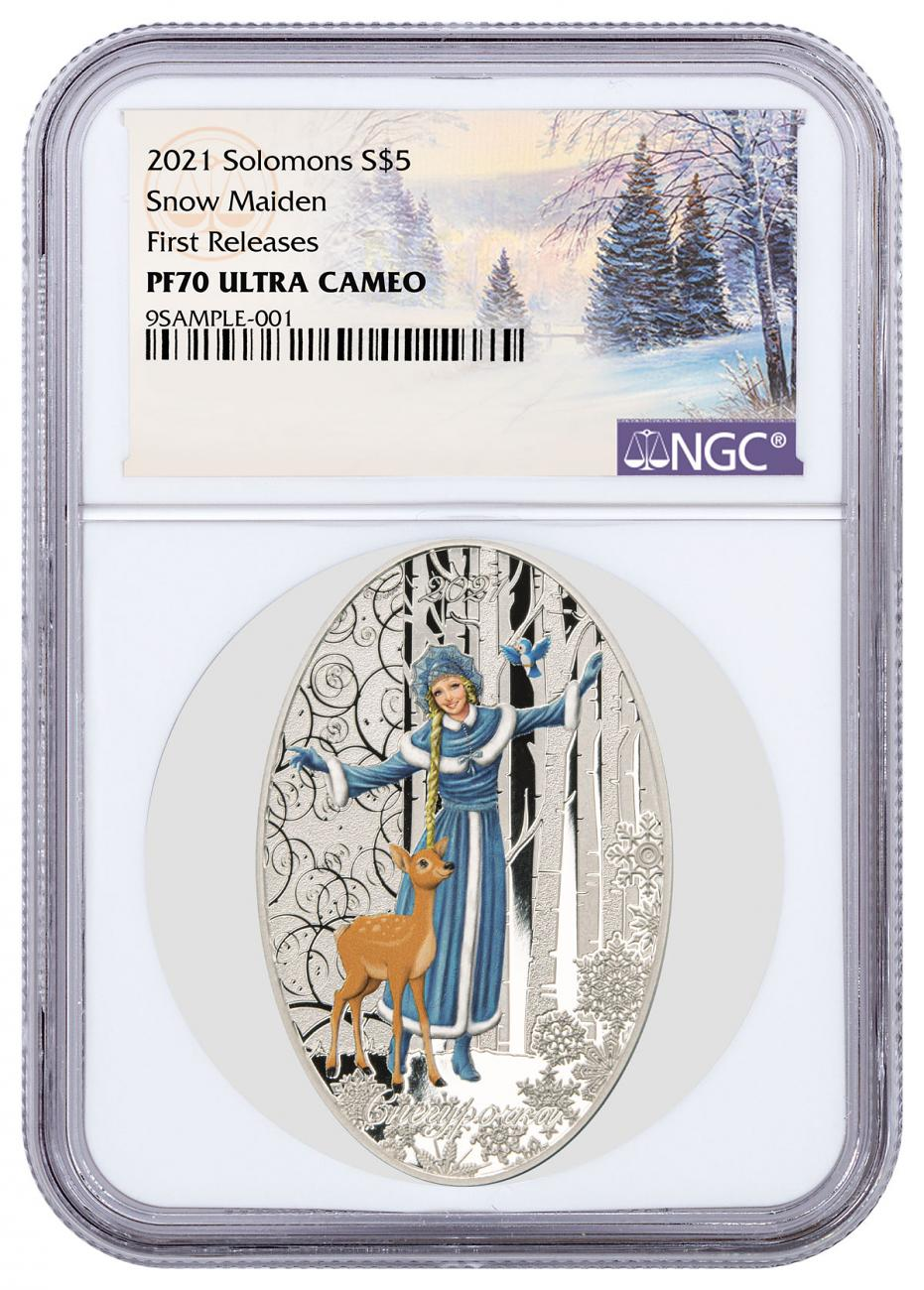 2021 Solomon Islands Snow Maiden Matryoshka Doll 1 oz Silver Colorized Proof $5 Coin NGC PF70 UC FR with Doll Packaging