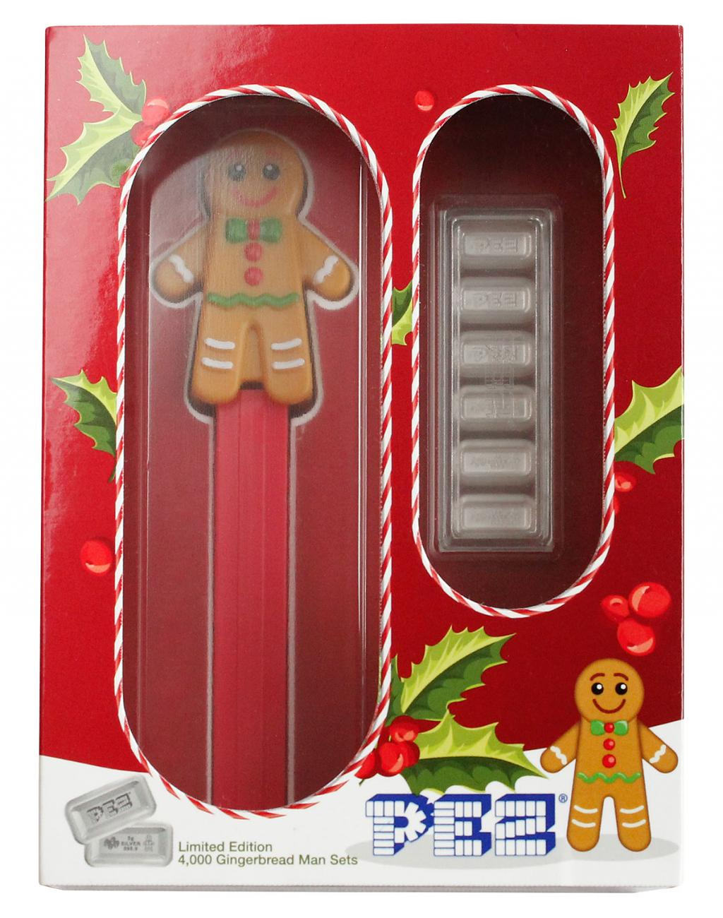 6-Piece Set - PAMP Gingerbread Man Pez Dispenser 5 g Silver Bar GEM Reverse Proof