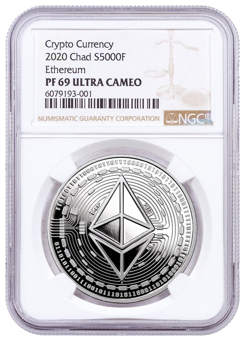 2020 Republic of Chad Fr5,000 1 oz Silver Ethereum Crypto Currency Proof Coin NGC PF69